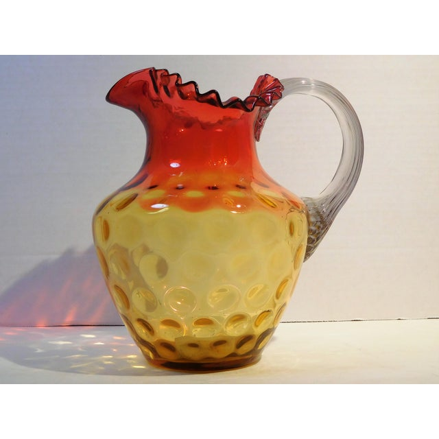 Antique Mt. Washington Glass Company Amber Rose Art Glass Pitcher, Circa 1880 For Sale - Image 13 of 13