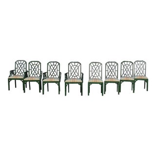 Hollywood Regency Chinoiserie Pagoda Dining Chairs - 8 For Sale