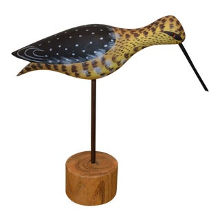 Hand Carved Wooden Bird Decoy Mounted on Stump For Sale