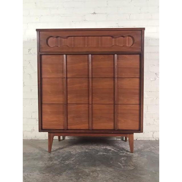 Walnut Mid-Century Four-Drawer Dresser - Image 3 of 9