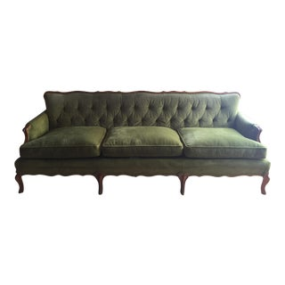Vintage French Provincial1960's Green Velvet Tufted Back Sofa For Sale