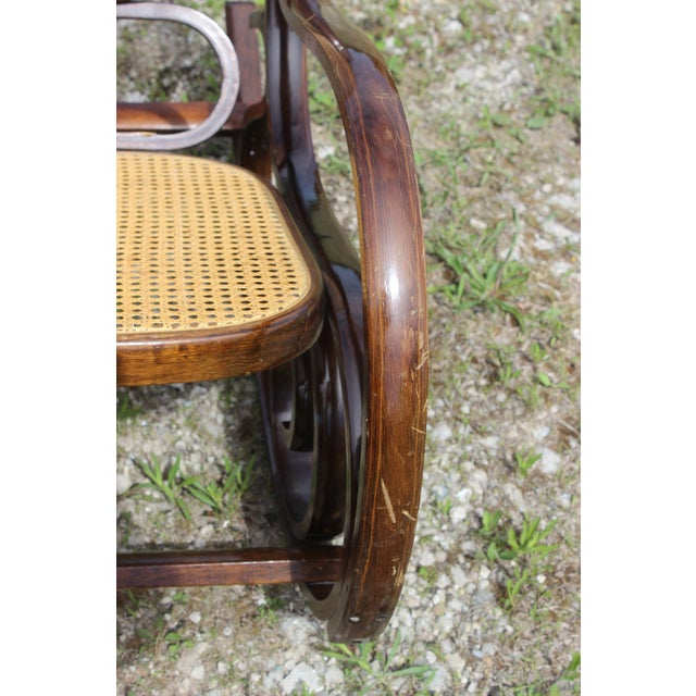 Brown Vintage Rattan Rocking Chair For Sale - Image 8 of 9