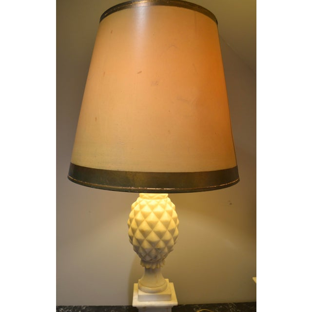 1950s Italian Alabaster Pineapple Lamps - a Pair For Sale - Image 4 of 12