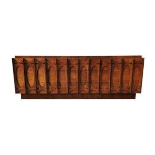 Mid Century Brutalist Vintage Walnut Credenza / Dresser / Sideboard / Media Cabinet For Sale