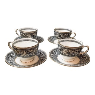 Wedgwood Florentine Dragon Teacups and Saucers - Set of 4 For Sale
