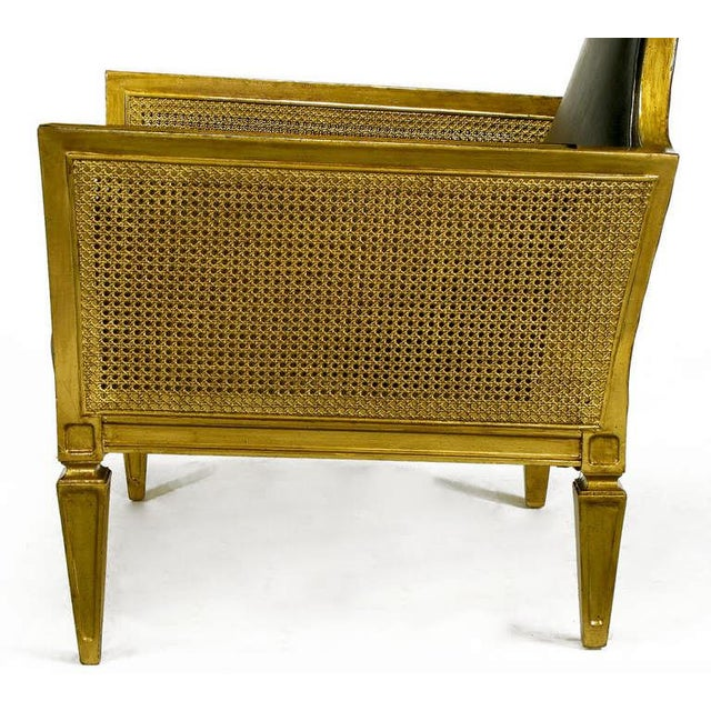 Antique Gilt Finish & Black Naugahyde Moorish Style Lounge Chair For Sale - Image 10 of 10