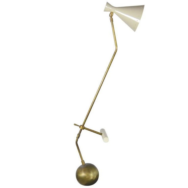 White Italian Counter Weight Brass Table Lamp Attributed to Roberto Menghi For Sale - Image 8 of 8