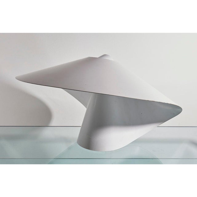 White Enamelled Metal Table Lamp by Raoul Raba For Sale - Image 4 of 6