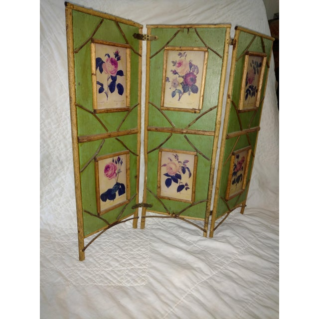 Antique Chinoiserie Green Floral Bamboo Table Screen For Sale In Sacramento - Image 6 of 9
