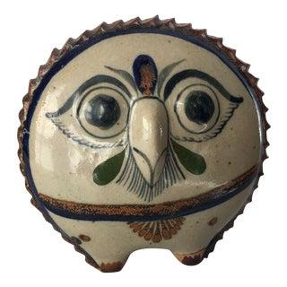 "Vintage Owl Pottery Figurine Signed ""R"" For Sale"