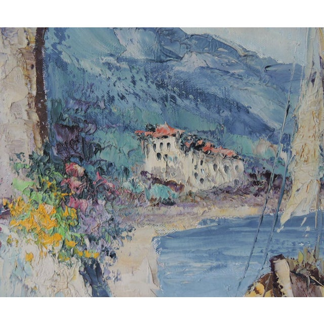 """""""The Island of Capri"""", Italy by Giovanni Camprio, Framed Oil on Canvas Painting (Mediterranean) For Sale - Image 4 of 7"""