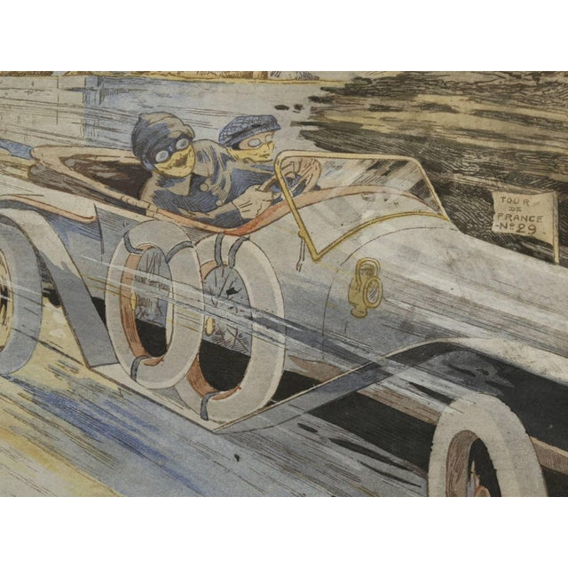 Gamy French Automobile Lithograph, Hand-Colored Majola Auto Circa 1913 For Sale In Chicago - Image 6 of 11