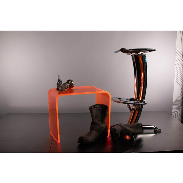 "Acrylic ""The Side Piece"" Side Table in Neon Orange For Sale - Image 7 of 7"