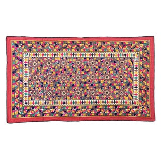 1960s Vintage Indian Embroidered Tapestry For Sale