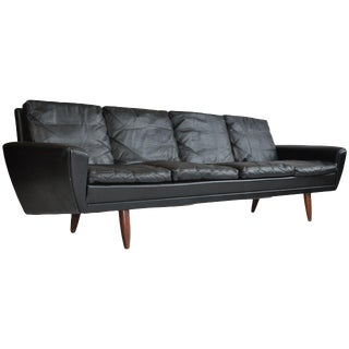 Danish Leather Sofa With Rosewood Legs For Sale
