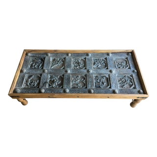 Antique Carved Teak Indian Door Coffee Table For Sale