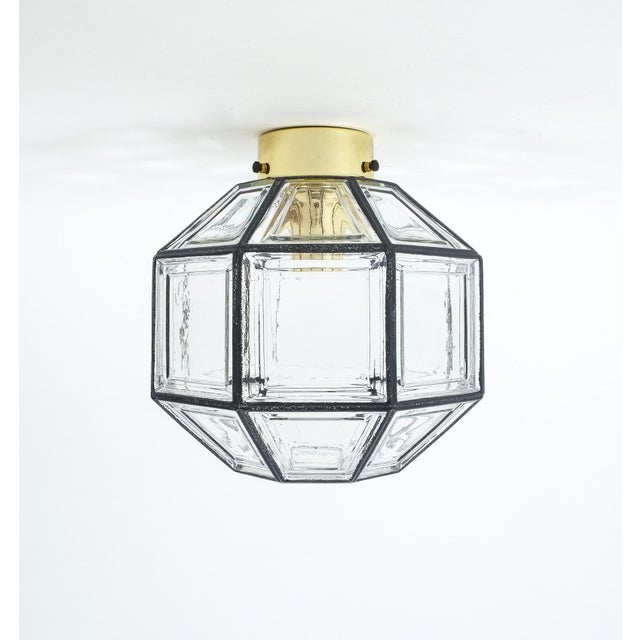 Mid-Century Modern Set of Three Clear Glass Lantern Flush Mounts Lamps by Limburg For Sale - Image 3 of 8