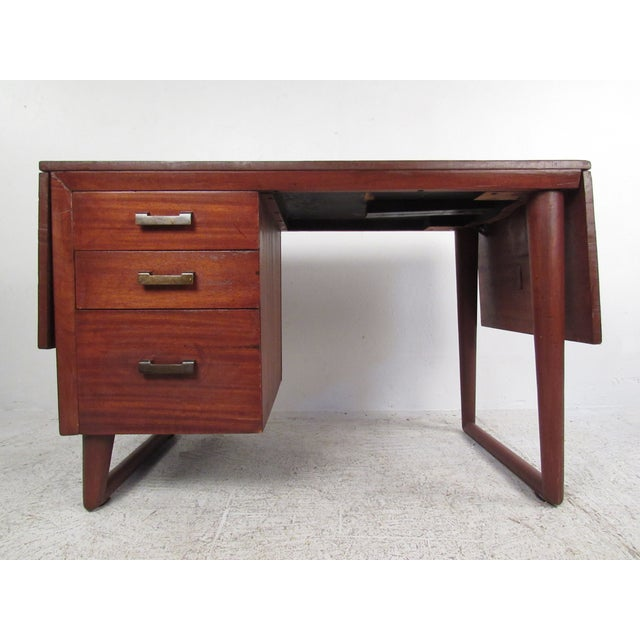 Sculptural Mid-Century Modern Drop-Leaf Writing Desk For Sale - Image 12 of 12