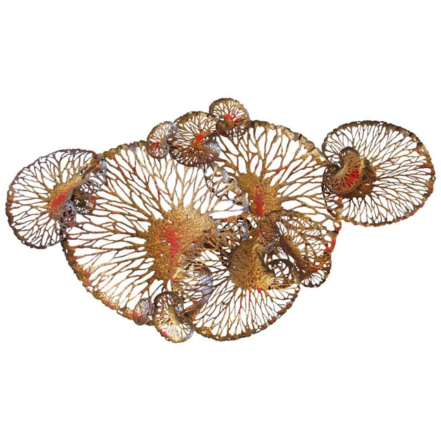 Red and Gold Lotus Iron Wall Sculpture by Fabio Ltd For Sale In Palm Springs - Image 6 of 6