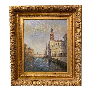 Signed Venetian Harbor Scene Oil on Canvas For Sale