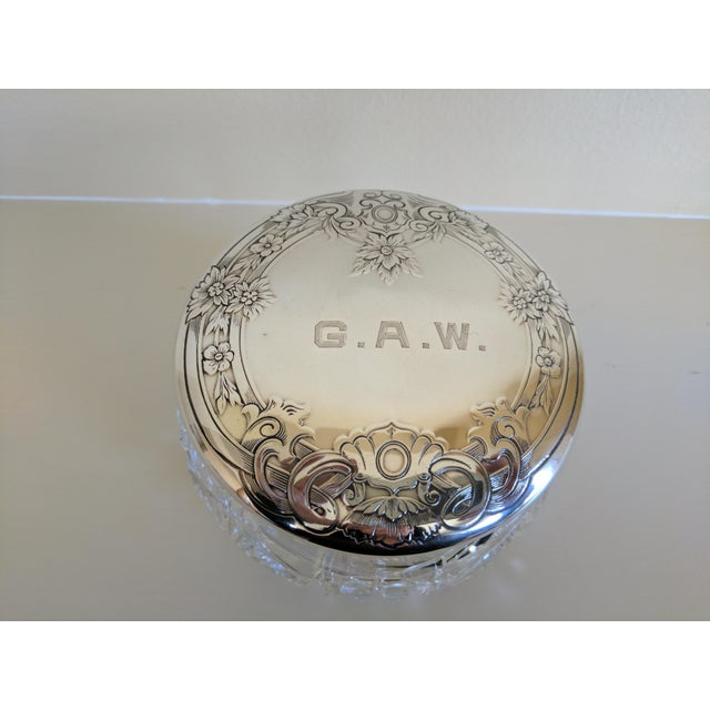Gorham Gorham Sterling Silver Monogrammed Vanity Powder Jar For Sale - Image 4 of 7