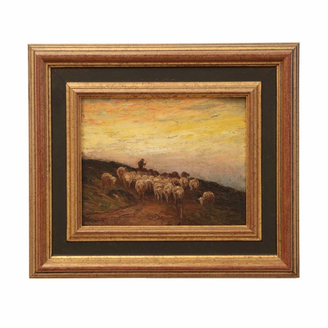 A fine Barbizon work by the American artist Francis Wheaton, this oil on panel depicts an evening scene of a shepherd...