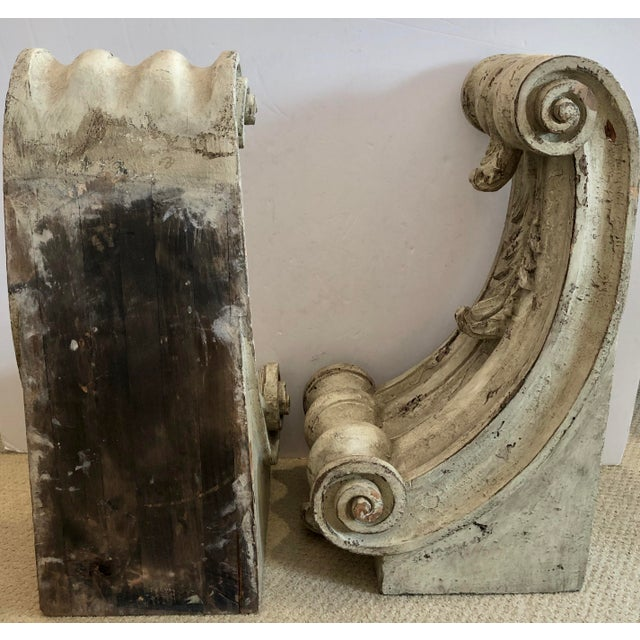 Wood Antique Large Classical Wood Carved Painted Corbels, A-Pair For Sale - Image 7 of 13