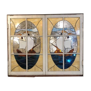 Antique Sailboat Stained Glass 61 X 49.5 Hinged Windows - a Pair For Sale