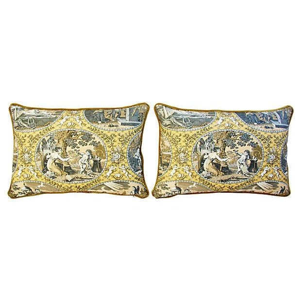 Designer Scalamandre Cupido Toile Pillows - Pair - Image 7 of 7