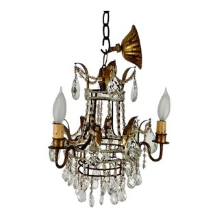 1980s Currey and Company Mini Laureate 3 Light Chandelier For Sale