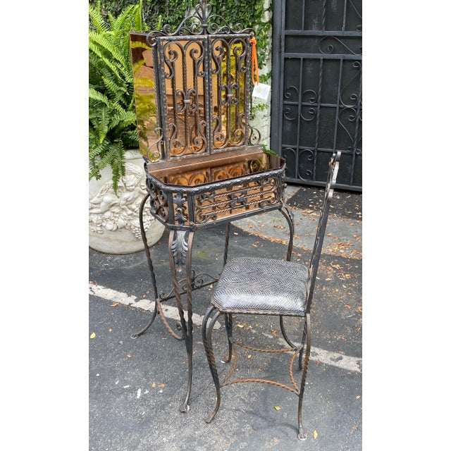 Metal Antique Art Deco Spanish Wrought Iron Champagne Mirrored Vanity & Chair - a Pair For Sale - Image 7 of 11