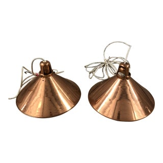 Vintage Copper Pendant Lights - a Pair For Sale