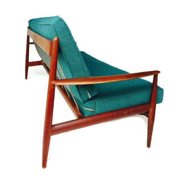 Mid-Century Modern Danish Teak Sofa Turquoise Cushions For Sale - Image 10 of 10