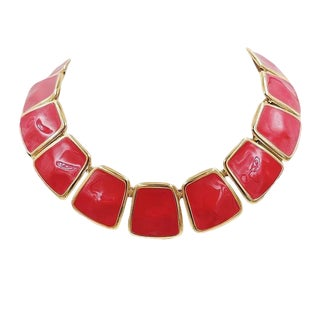 Monet Red Enamel Collar Necklace, 1972 Ad Piece For Sale