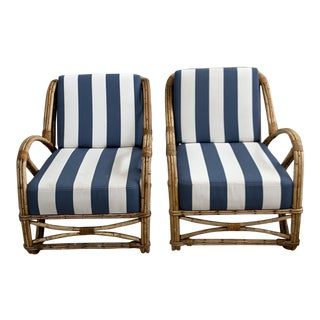1960s Vintage Rattan Stripped Chairs- A Pair For Sale