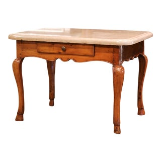 19th Century French Louis XV Cherry and Beige Marble Side Table From Burgundy For Sale