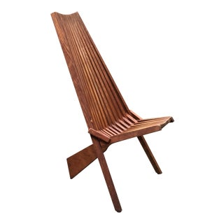 Vintage 1960s Danish Teak Folding Slat Lounge Chair For Sale