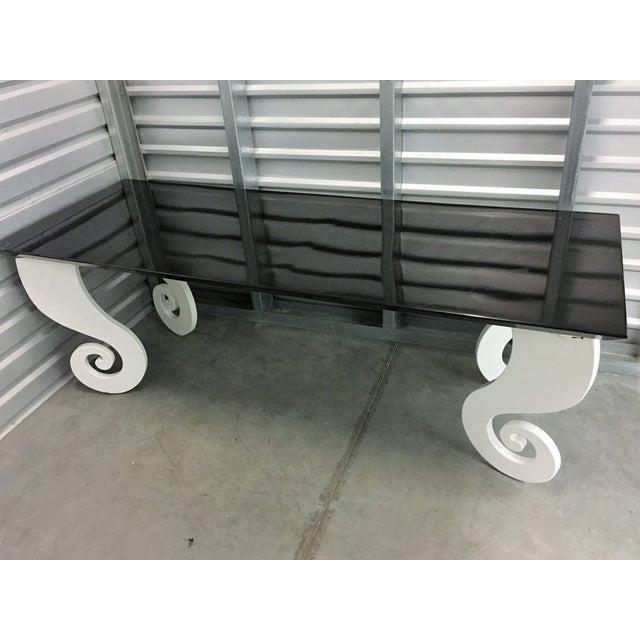 Black Lacquer Pinwheel Legged Hall Table - Image 3 of 10