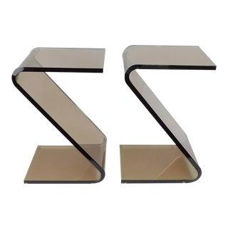 "Shlomi Haziza Acrylic Bent Lexan Lucite ""Z"" End Tables / Nightstands - a Pair"