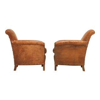 Pair of French Art Deco Leather Club Chairs, Restored For Sale