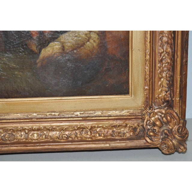 "19th Century European Oil Painting ""Shepherd Family"" - Image 9 of 11"