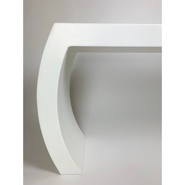 PLEASE READ ENTIRE LISTING DETAILS FOR IMPORTANT INFO: Our 'Lucy' curved edge waterfall style console in our signature...