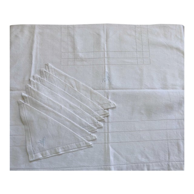 French Linen Tablecloth & Napkins - Set of 7 For Sale