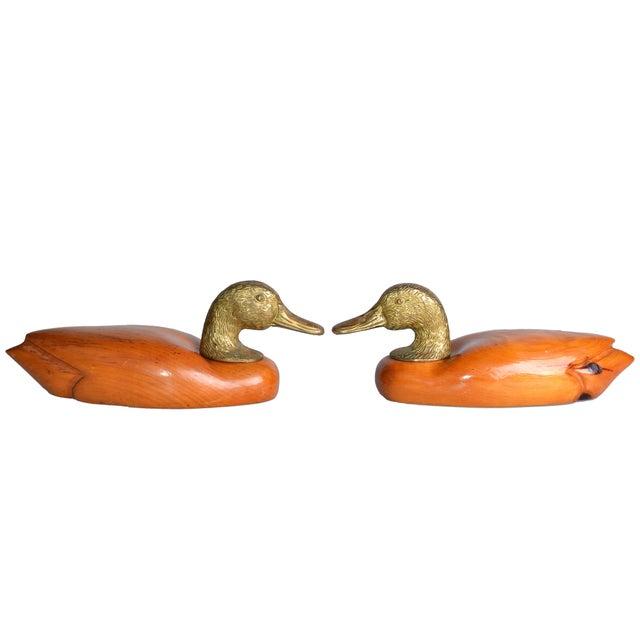 Brass & Mahogany Mallard Ducks - A Pair - Image 2 of 10