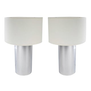 1970's vintage GEORGE KOVACS CHROME CYLINDER LAMPS- a pair For Sale