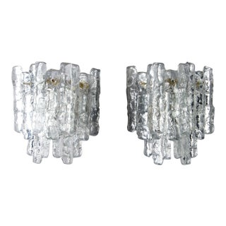Pair Kalmar Ice Glass Sconces Austria For Sale