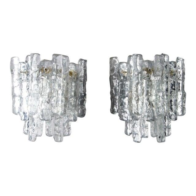 Pair Kalmar Ice Glass Sconces Austria For Sale