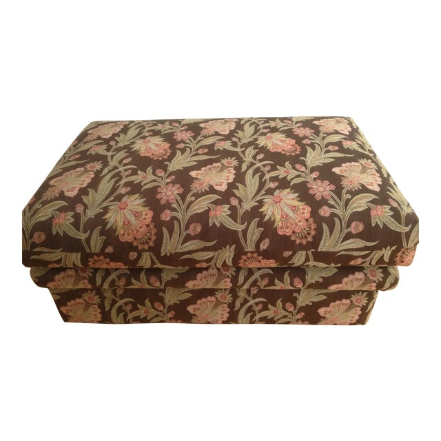 Custom Tapestry Upholstered Ottoman - Image 1 of 4