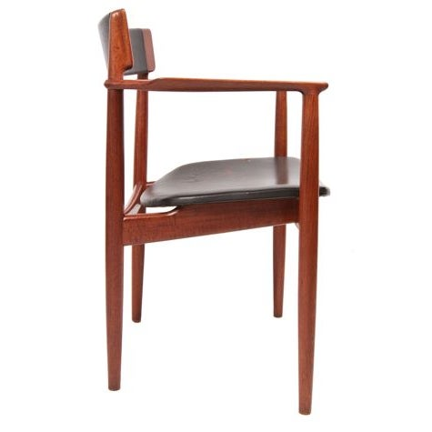 Danish Modern Teak & Leather Arm Chairs - A Pair For Sale - Image 3 of 7