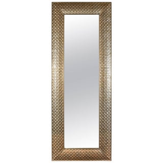 Very Tall Metal Clad Rectangular Mirror with Cubist Motif in Silvery, White Gold For Sale